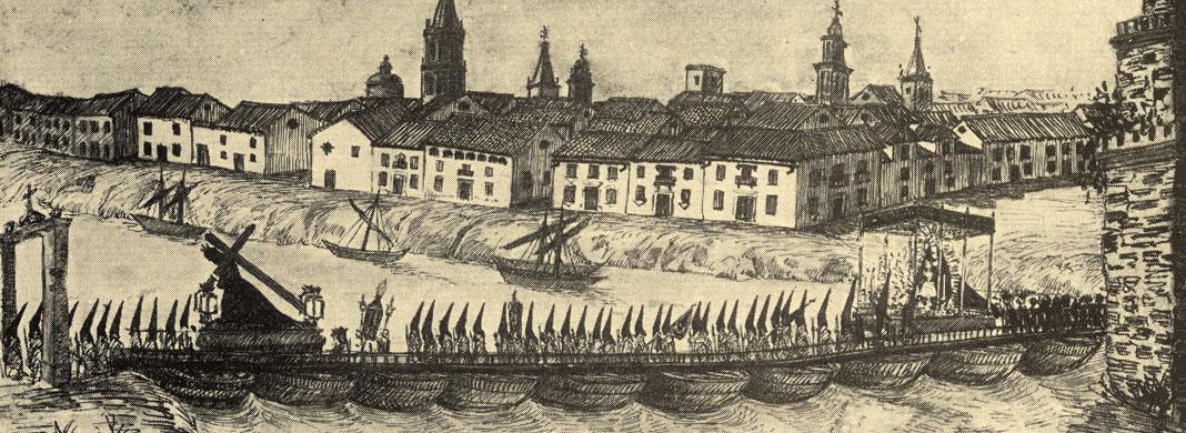 Cruzando el Puente de Barcas