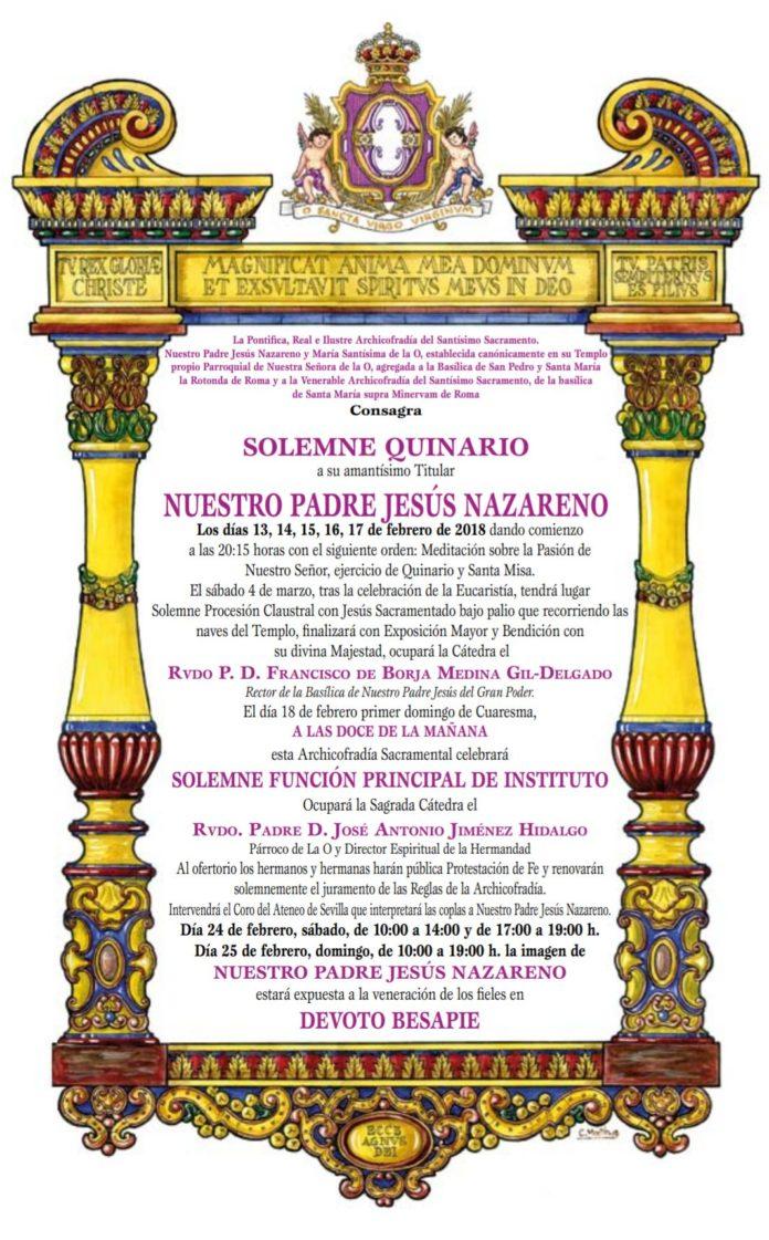 Convocatoria Quinario Nuestro Padre Jesús Nazareno 2018