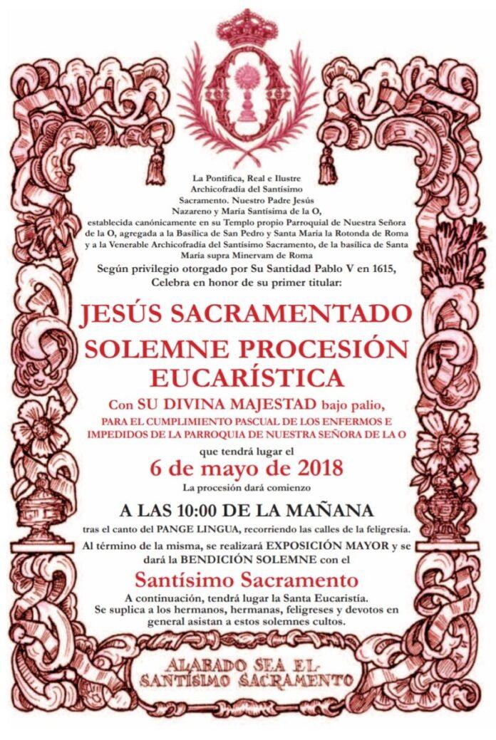 Convocatoria Solemne Procesión Eucarística para el cumplimiento Pascual de los enfermos e impedidos