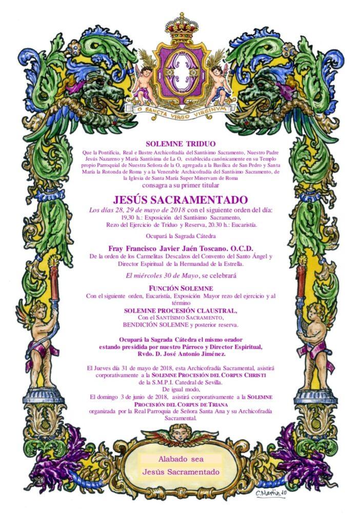 Convocatoria Solemne Triduo a Jesús Sacramentado 2018