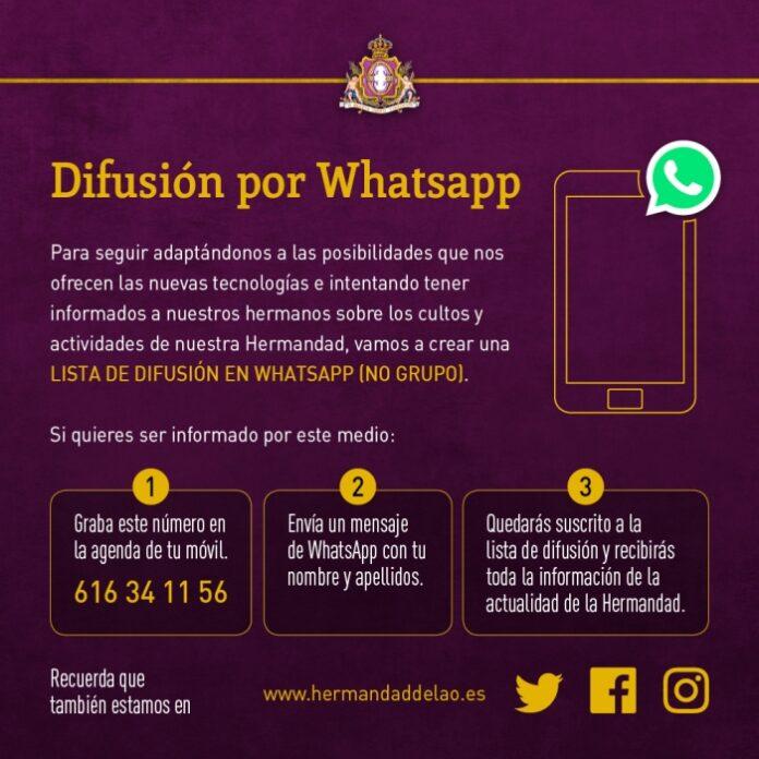 Lista Difusión en WhatsApp Hermandad de la O