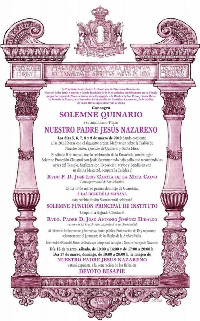 Convocatoria Quinario Nuestro Padre Jesús Nazareno 2019
