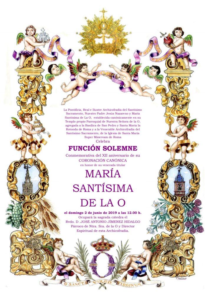 Función Solemne Conmemorativa del XII aniversario de su Coronación Canónica en honor de su venerada titular María Santísima de la O